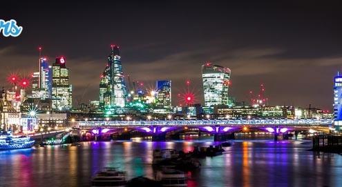 Un panorama de nuit de la ville de Londres en Angletterre
