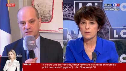 Mercredi 15 avril 2020, interview télévisée sur LCI du Ministre de l'Education Nationale Jean-Michel Blanquer