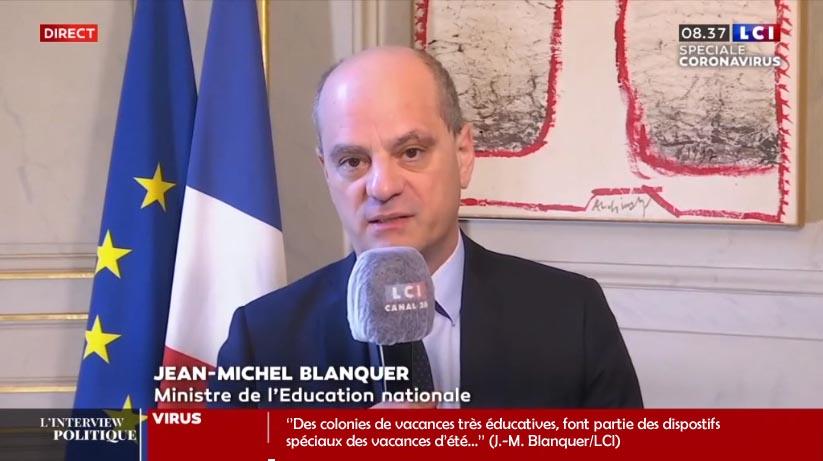 Jean-Michel Blanquer annonce des colonies de vacances apprenantes sur LCI
